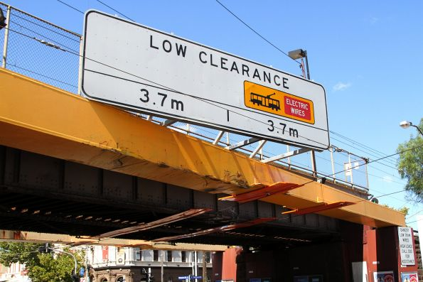 3.7 metre clearance below the railway bridge on Racecourse Road at Newmarket