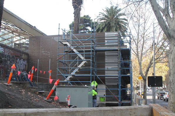 External cladding being erected around the Flinders Street tram substation
