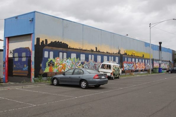 Mural featuring a Harris train off Sydney Road near Moreland Road