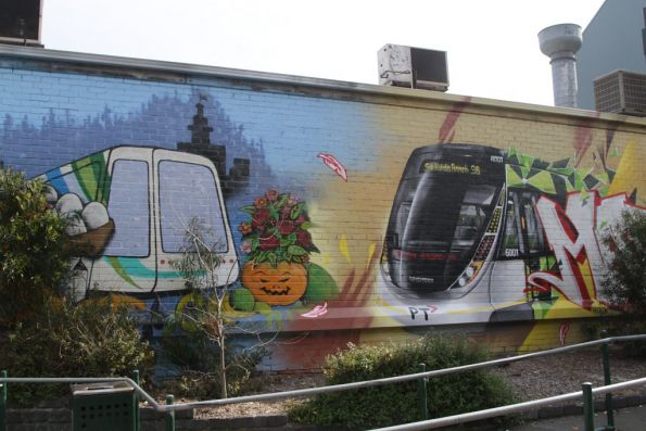 Original C class tram featured in a mural at South Melbourne Market, with an E class recently added alongside