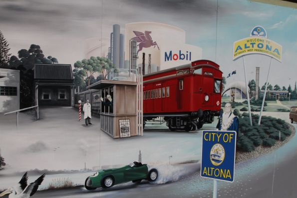 Mural on Altona's main street, featuring a Tait train among other local landmarks
