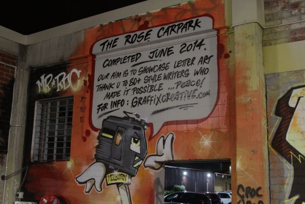 Hitachi train features in a street art mural at the Rose Street Car Park in Fitzroy