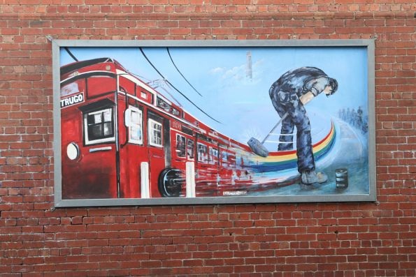 Mural at Yarraville, featuring a Trugo player and Tait train