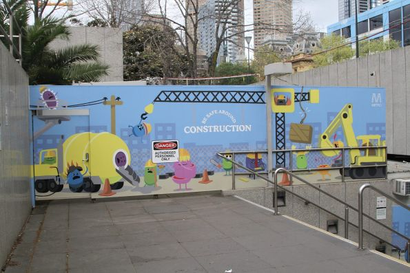 Dumb Ways to Die themed 'Be safe around construction' mural at Parliament station