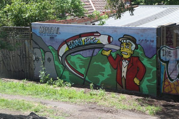 Simpsons themed 'Monorail: First on Hurstbridge' mural near Ivanhoe station