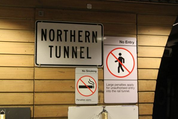 'Northern Tunnel' sign at Flagstaff station