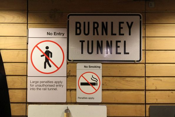 'Burnley Tunnel' sign at Flagstaff station
