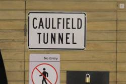 'Caulfield Tunnel' sign at Flagstaff station