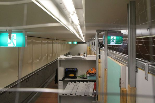 Staff offices behind a temporary wall on the Flagstaff station mezzanine
