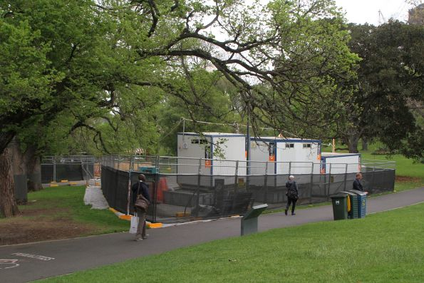 Site huts in Flagstaff Gardens beside the Flagstaff station ventilation structure