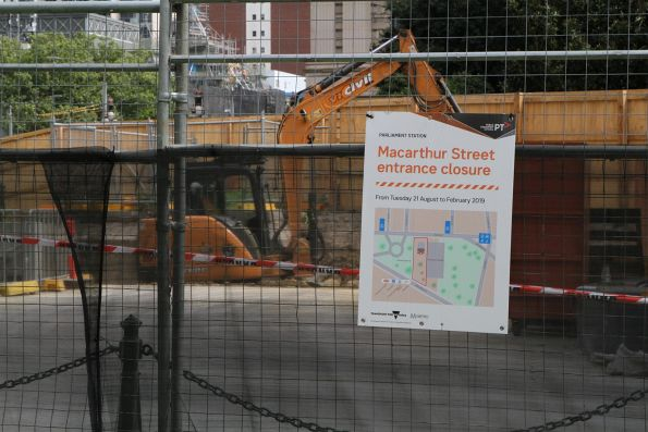 MacArthur Street entrance to Parliament station closed for upgrade works