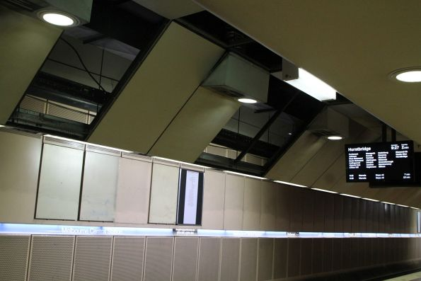 Removed ceiling panels at the east end of Melbourne Central platform 1