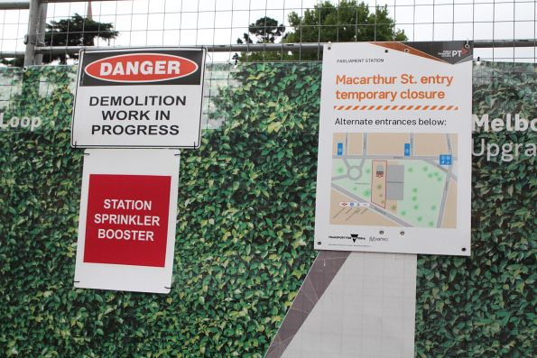 Upgrade works at the MacArthur Street entrance to Parliament station
