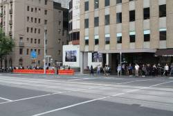 Crash barriers installed outside the Parliament station Collins Street exit
