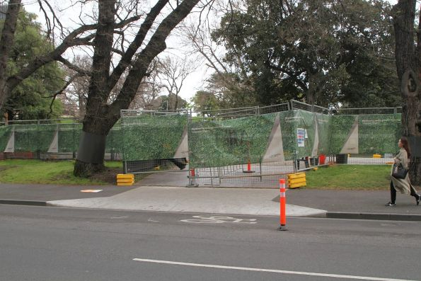 Road entrance to the Flagstaff station work site at La Trobe and King Street