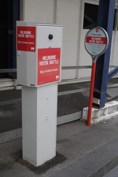 Bus stop and ticket machine for the Melbourne Visitor Shuttle service