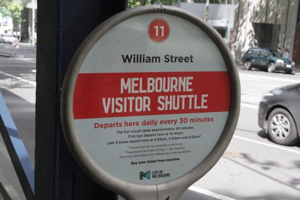 Bus stop flag for the City of Melbourne operated visitor shuttle bus