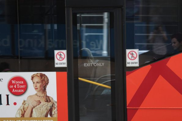 'No entry' signs on the rear doors of the Melbourne Visitor Shuttle bus