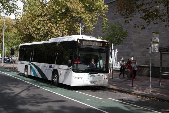 Driver liveried bus #41 5392AO on the Melbourne Visitor Shuttle outside the National Gallery
