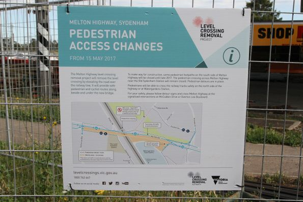 Pedestrian access changes notice at the Melton Highway level crossing