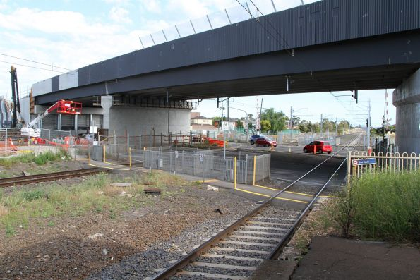 One of two Melton Highway bridges in place over the railway line