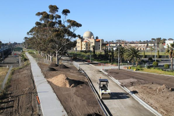 Shared path and local access roads still to be completed on the south-west side