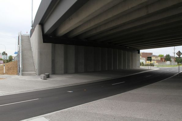 Sydenham Road passes beneath the completed Melton Highway bridge