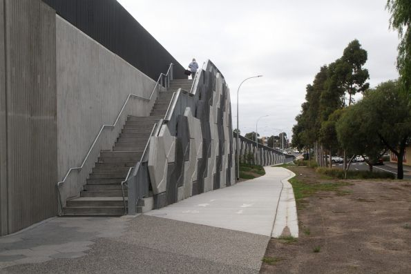 Steps up to the bridge from the eastern approach span