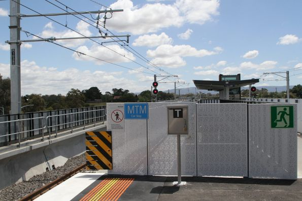 'MTM Car Stop' sign at the down end of Mernda station