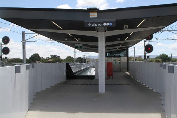 Steps and lift at the northern entrance to Mernda station