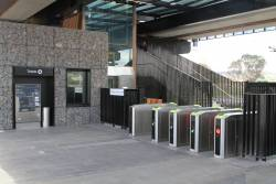 Unattended myki gates at the northern entrance to Mernda station