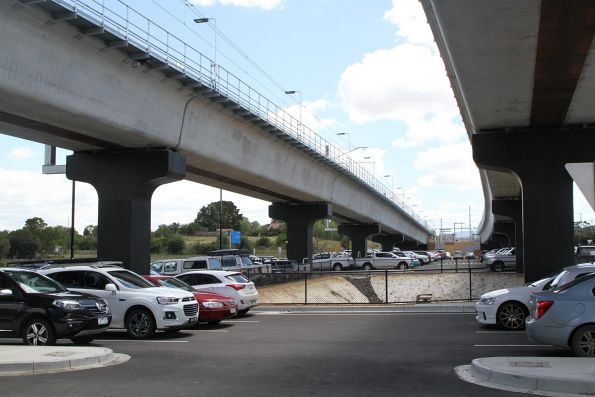 Pair of viaduct tracks continue north of Mernda station towards the stabling yard