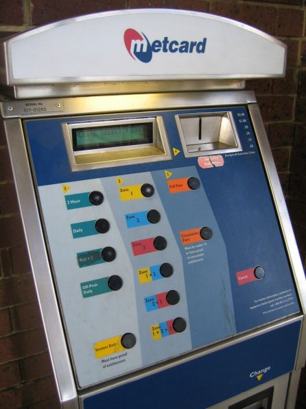 Buttons on the front of a MVM1 ticket machine