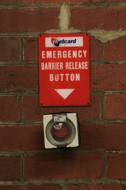 Emergency barrier release button at Footscray station