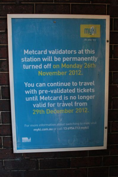 'Metcard validators will be turned off on Monday November 26, 2012' poster