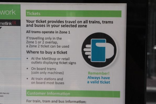 Out of date ticketing signage at a tram stop