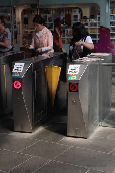 'Metcard not in use' stickers on a set of Frankenbarriers