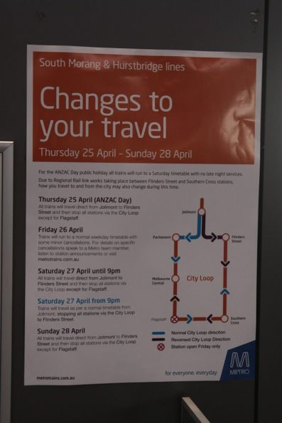 Longwinded and convoluted explanation of the Metro Trains services changes over the Anzac Day long weekend