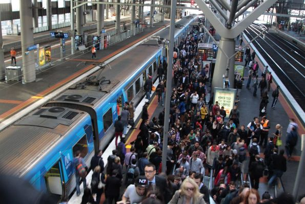 Another load of ex-Werribee passengers get dumped on platform 12 at Southern Cross
