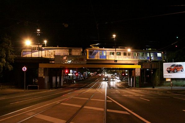 T377 leads IEV102 through Newmarket on an inspection run to Craigieburn
