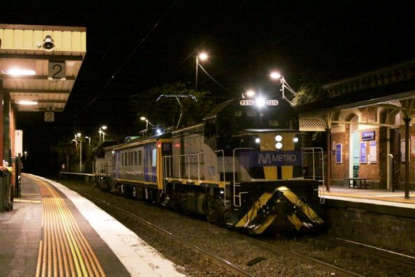 T376 leads IEV102 and T377 through Moonee Ponds on the up with an inspection run