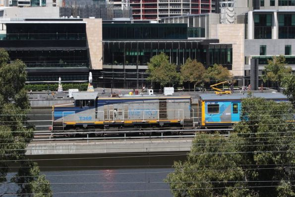 T369 leads IEV102 over the viaduct towards Flinders Street Station