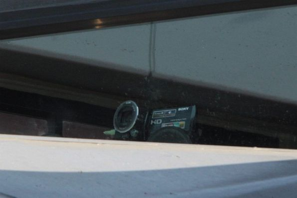 Recording device for the inspection run: a Sony HD Handycam attached to the windows with suction cups