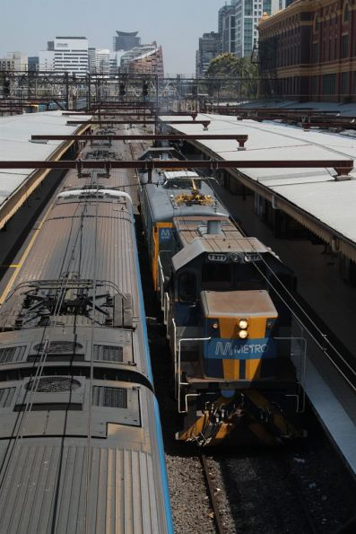 T377 leads the inspection train back out of Flinders Street Station