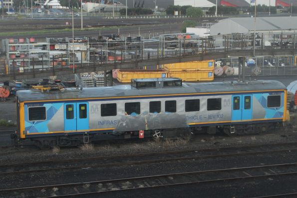 IEV102 stabled at the Wagon Storage Yard minus a pantograph