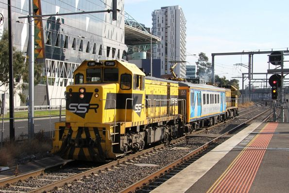 Thursday, 12 July - T385 leads T381 push-pull at Southern Cross on an inspection run bound for the Burnley group