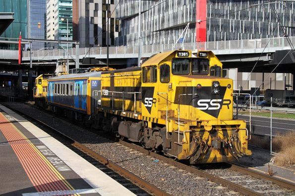 T385 leads T381 push-pull at Southern Cross on an inspection run bound for the Burnley group