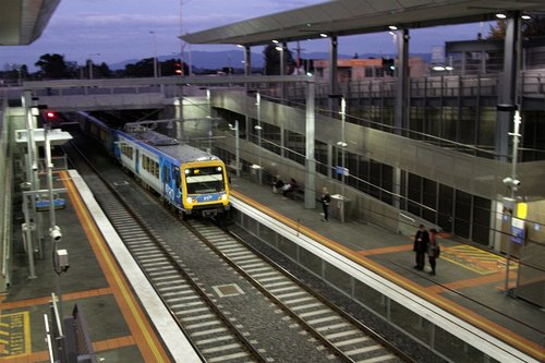 Citybound X'Trapolis train passes through Mitcham station without stopping