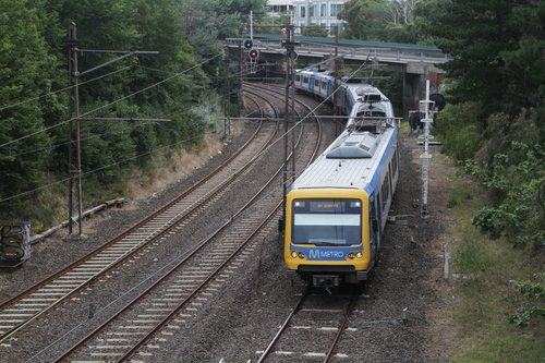 X'Trapolis 992M departs Hawthorn with a down Alamein service