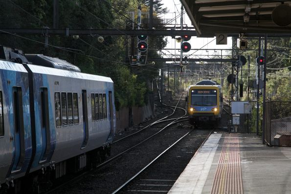 Up and down trains cross paths at Camberwell
